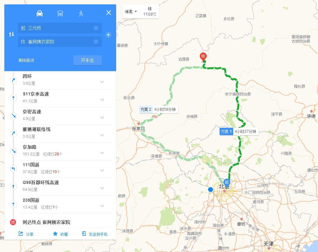 北京到丰宁坝上草原自驾游路线